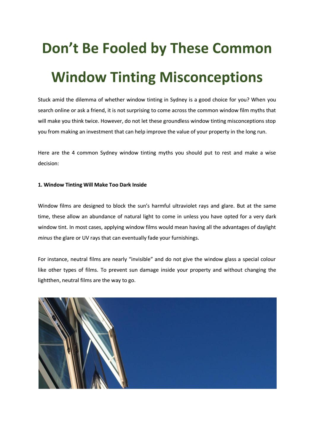 Don't Be Fooled by These Common Window Tinting Misconceptions